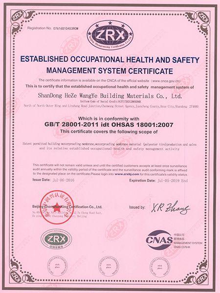 职业健康安全质量管理体系证书英文