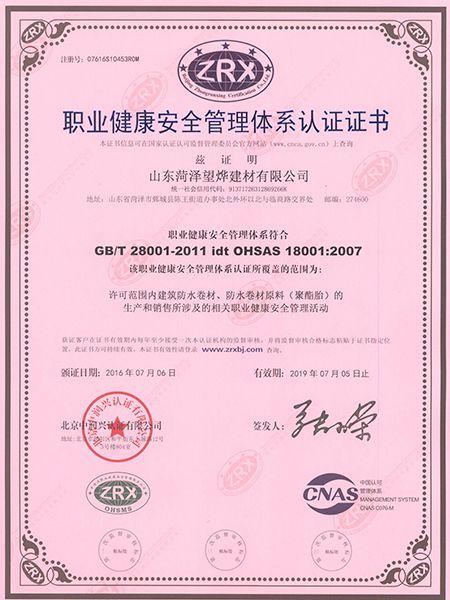 职业健康安全质量管理体系证书中文